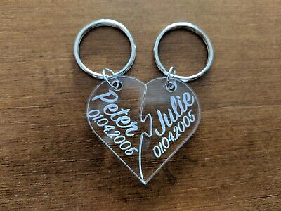 Hearts - Personalised Laser Cut Keyring - Anniversary, Weddings, Special Dates