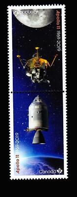 MNH QP tête-bêche pair from pane, 2019 Apollo 11-Canada's contributions