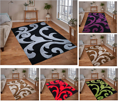Finsbury Modern Floral Design Small X-Large Living Room Area Hand Carved Rugs
