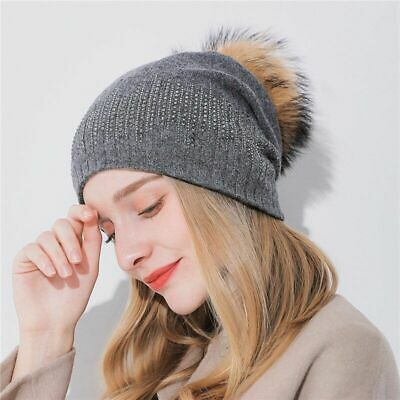 Women's Winter Raccoon Fur Hats Pom Poms Beanies Cashmere Knitted Warm Wool Caps