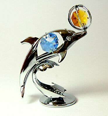 Crystocraft Dolphin and Ball Made with Swarovski Crystals -Stunning  Figurine