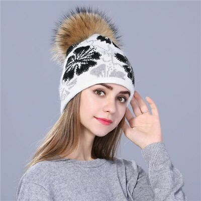 Knitted Beanies for Women Raccoon Fur Pom Poms Winter Hat Thick Rabbit Wool Caps