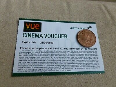Vue cinema ticket  Lloyds exp 21/6/20 typical price £12-£14 all UK Vue cinemas