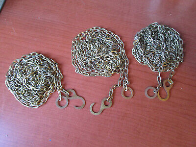 "3  Vintage Solid Brass Cuckoo Clock Weight Chain 78""  47 LPF.   (450A)"