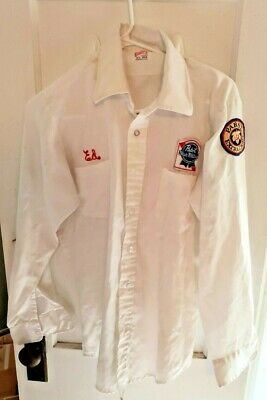EXC Vintage Original Pabst Blue Ribbon Beer WORKERS BUTTON SHIRT