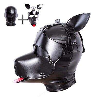 Slave Restraint Submissive Dog Head Mask Full Cover Fetish BDSM PU Leather