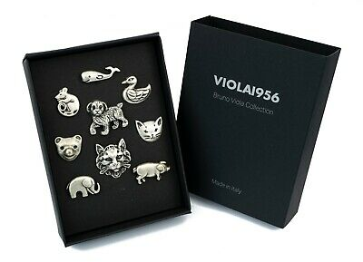 Set of 9 shank buttons - VIOLA1956 series gift box - Set 015. Animals