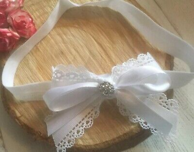 Gorgeous Baby Girl White Christening Headband Baptism Wedding Satin Bow Hairband
