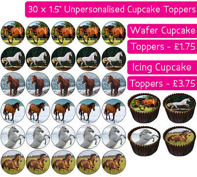 30 Horses Edible Wafer & Icing Cupcakes Toppers Birthday Party Ponies Pony Mare