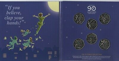 Peter Pan 6 x Brilliant Uncirculated 50p Coin Collection in Display Card