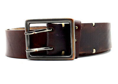 Vintage Handmade Real Leather Belt with Double Pin Buckle Brown Size 32