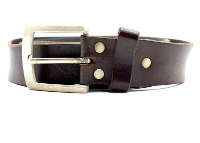 Vintage Handmade Mens Real Leather Belt Buckle Brown Size 36