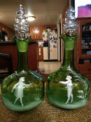 Pair Antique Glass Green Bottles w Hand Painted Girl & Boy Clear Glass Stoppers