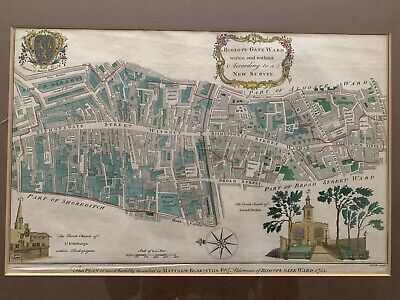 Antique Map of London Bishopsgate Colour Copperplate Engraving 1754 B. Cole