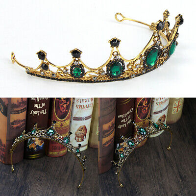 Baroque Wedding Bridal Tiara Handmade Vintage Green Crystal Crown AU