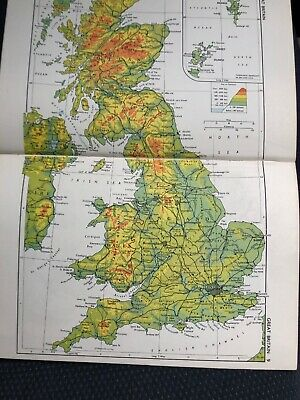 1963: Physical Map Of Great Britain, Scandinavia  & Political MAP GB & Ireland