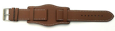 20mm Tan Brown GENUINE QUALITY LEATHER MILITARY STYLE CUFF Watch Strap and Pins