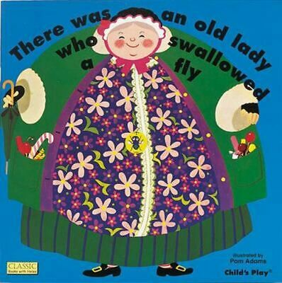 NEW There Was an Old Lady Who Swallowed a Fly By Pam Adams Board Book
