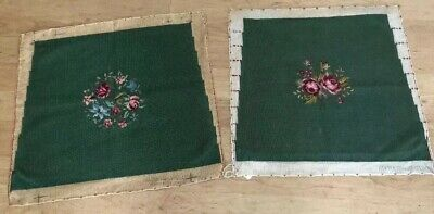Matching Set Vintage Green Wool Needlepoint chair/pillow covers Floral Centers