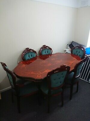 Victorian Style Walnut Inlaid Table And Chairs