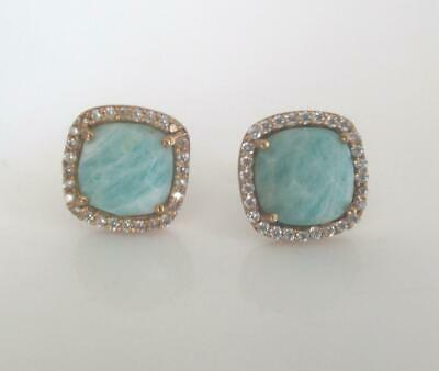 Gold Vermeil Chalcedony Pave CZ Square Stud Earrings Gold Plate Sterling Silver
