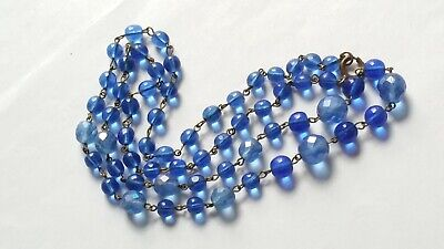Czech Vintage Art Deco Blue Wired Long Glass Bead Necklace Signed