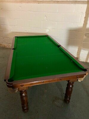 Antique Victorian Quarter-size Snooker / Dining Table 3 Leaf Inc. Balls Cues Etc