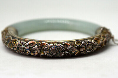 Vintage Chinese Silver and Natural Jade Bangle/Bracelet