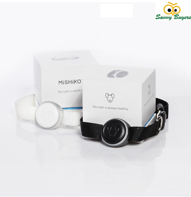 Mishiko Real Time GPS Tracker and Fitness Planner for Pets - White & Black - UK
