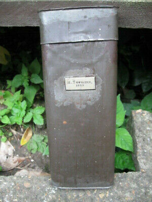 Antique Document Tin/Scientific Apparatus Container.marked 'H.thwaites 1858'.