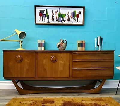 Vintage Retro Mid Century Light Teak Bow Fronted Beautility Sideboard