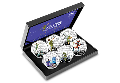 2019 Peter Pan Silver Proof 50p Coloured Coin Set Royal Mint Only 1,995 Issued