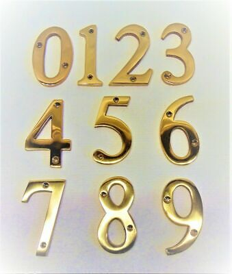 "Large Solid Brass Door Number 3""-77mm 3/16""-5mm Thick House Home Front Gate Flat"