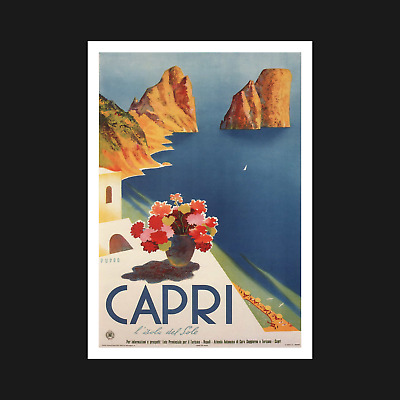 Capri Vintage Travel Poster / Print - Retro Wall Art Decor - A5 A4 A3