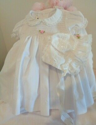 Pretty Vintage Smocked Baby Dress + Bonnet, For Reborn Or Baby, As New