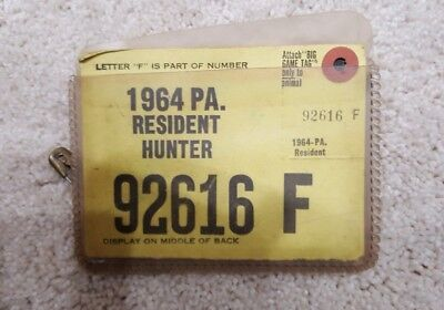 Vintage 1964 PA Resident Hunter License in original pouch RARE