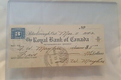 Vintage Royal Bank Of Canada 1942 Cheque (Misc-8)