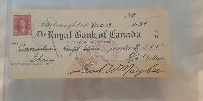 Vintage Royal Bank Of Canada 1939 Cheque (Misc-8)