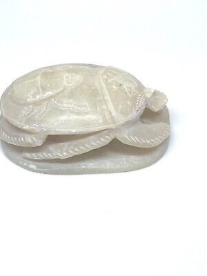 EGYPTIAN SCARAB Carved White Carved Stone, Vintage