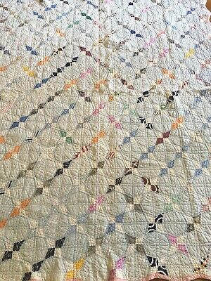 Vintage Feed Sack Quilt ~ hand~quilted ~ original feed sack logo on back