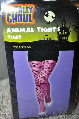 NEW Juniors Girls Teen Pink & Black Tiger Print Animal Halloween Tights-ages 14+