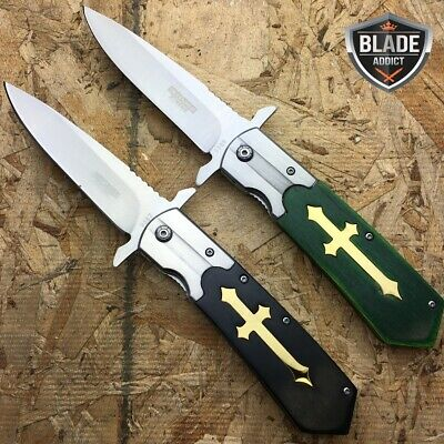 """2 PC 9.5"""" STAINLESS STEEL CELTIC CROSS SPRING ASSISTED OPEN POCKET KNIFE -b"""