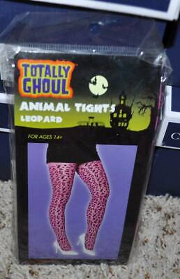 NWT-Womens Girls Teen Pink & Black Leopard Print Animal Halloween Tights-age 14+