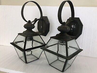 Antique Matched Pair Copper & 8 Sided Glass Art Deco Porch Sconce Lights