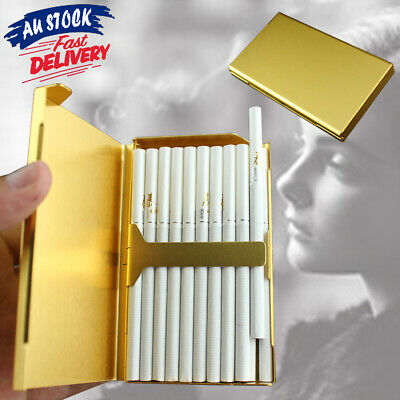 Elegant Slim S6 Holder Cigarette Case Aluminum Box Wiredrawing Thin 20 Gold
