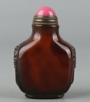 Chinese Exquisite Hand-carved agate snuff bottle