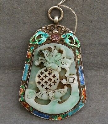 Chinese Exquisite Hand-carved insect bat silver mosaic jadeite jade Pendant