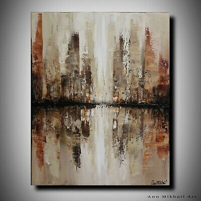 Modern Abstract Cityscape City Landscape Oil Painting 16 by 20 Art Ann Mikhail