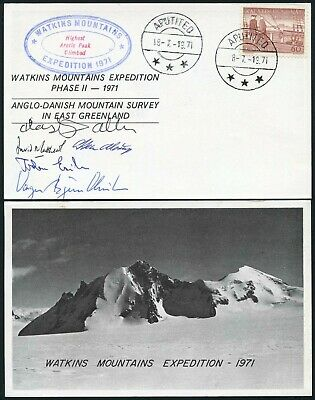 Arctic Polar Mountaineering 1971 Watkins Mountains Expedition Multi Signed Card