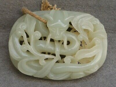 Chinese Exquisite Hand-carved Dragon Carving Hetian jade statue